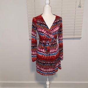 Rainbow Tie Dye long sleeve wrap dress